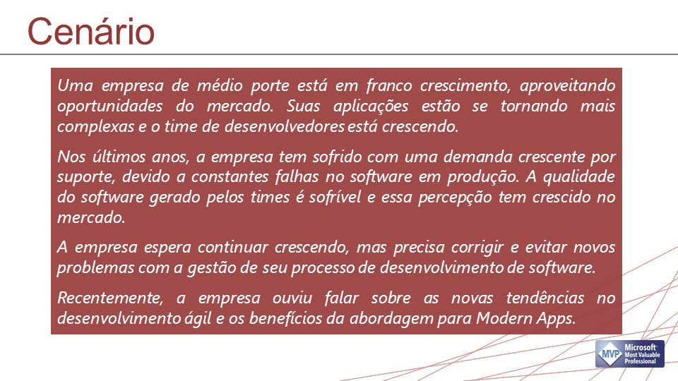 Cenário Uma empresa de médio porte está em franco crescimento, aproveitando oportunidades do mercado.