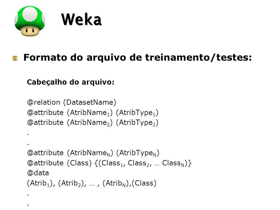 LOGO Weka Formato do arquivo de treinamento/testes: Cabeçalho do arquivo: @relation (DatasetName) @attribute (AtribName 1 ) (AtribType 1 ) @attribute (AtribName 2 ) (AtribType 2 ).