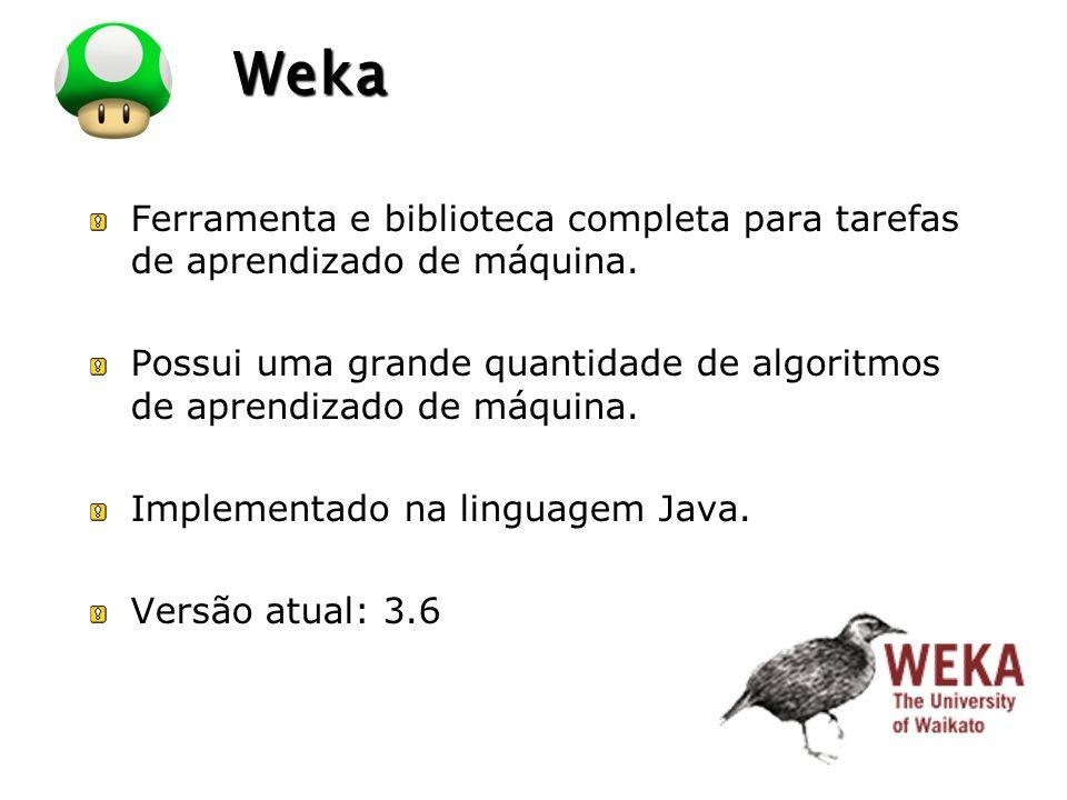 LOGO Weka Weka: http://www.cs.waikato.ac.nz/ml/weka/ Exemplos de Datasets: C:\Program Files\Weka-3-6\data\ http://www.cs.waikato.ac.nz/ml/weka/index_datas ets.html
