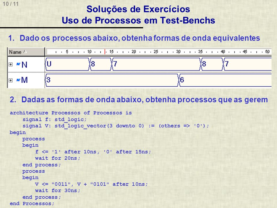 10 / 11 Soluções de Exercícios Uso de Processos em Test-Benchs 1.Dado os processos abaixo, obtenha formas de onda equivalentes 2.Dadas as formas de onda abaixo, obtenha processos que as gerem architecture Processos of Processos is signal f: std_logic; signal V: std_logic_vector(3 downto 0) := (others => 0 ); begin process begin f <= 1 after 10ns, 0 after 15ns; wait for 20ns; end process; process begin V <= 0011 , V + 0101 after 10ns; wait for 30ns; end process; end Processos;