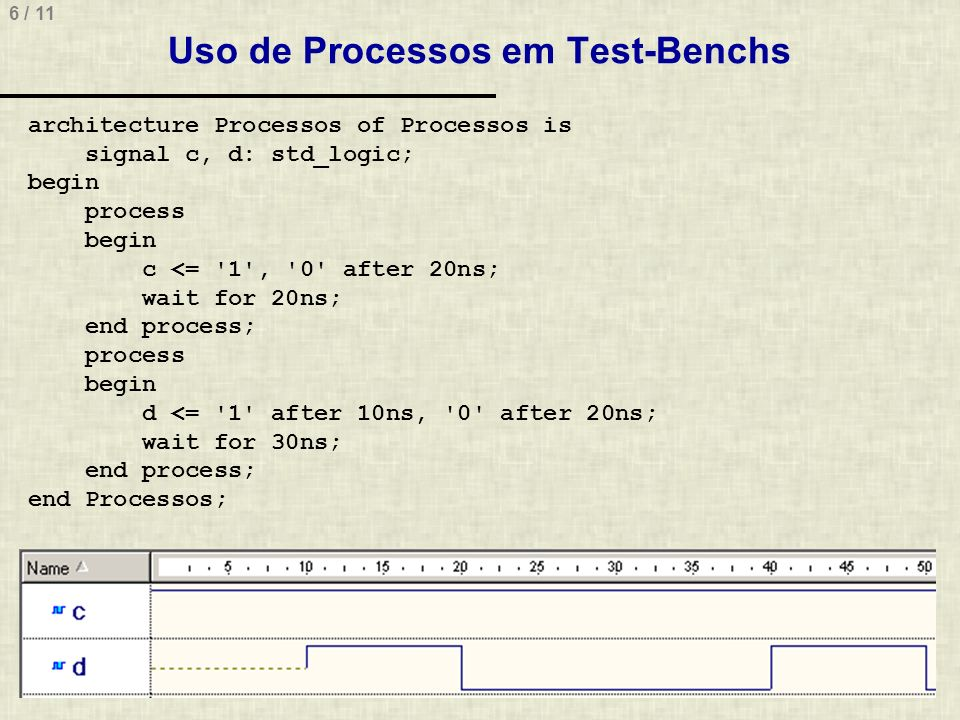 6 / 11 Uso de Processos em Test-Benchs architecture Processos of Processos is signal c, d: std_logic; begin process begin c <= 1 , 0 after 20ns; wait for 20ns; end process; process begin d <= 1 after 10ns, 0 after 20ns; wait for 30ns; end process; end Processos;