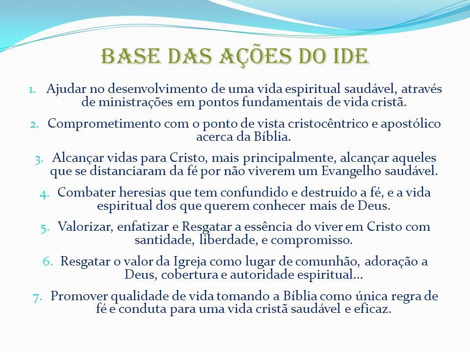 1. Ajudar no desenvolvimento de uma vida espiritual saudável, através de ministrações em pontos fundamentais de vida cristã. 2. Comprometimento com o