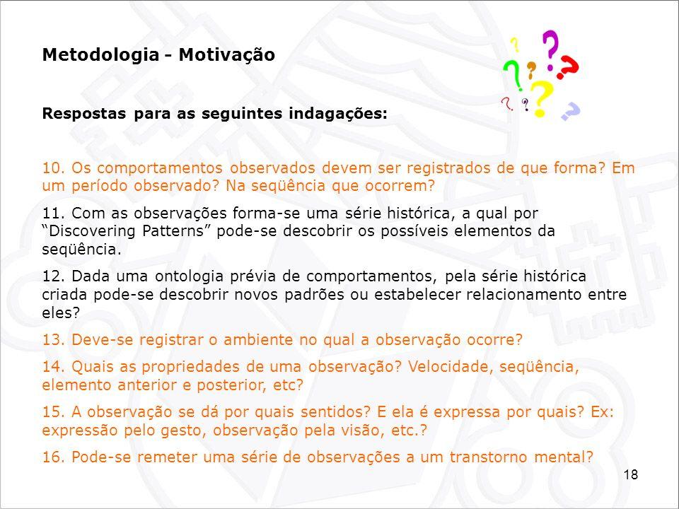 18 Metodologia - Motivação Respostas para as seguintes indagações: 10. Os comportamentos observados devem ser registrados de que forma? Em um período