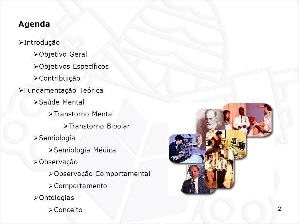 3 Agenda Metodologia Motivação, Justificativa e Proposta Local de Estudo (Hospital Nossa Senhora da Luz/Hospital Dia) Modelos Modelo Conceitual, Físico, de Observação e Avaliação A Ontologia Proposta A Ontologia do Hospital Dia A Ontologia da Observação Comportamental A Ontologia do Transtorno Bipolar O Protótipo de Coleta e Registro de Observações O Sistema Conceptus Resultados e Discussões Conclusão e Trabalhos Futuros