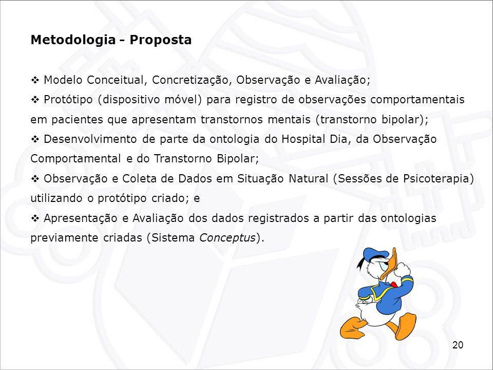 20 Metodologia - Proposta Modelo Conceitual, Concretização, Observação e Avaliação; Protótipo (dispositivo móvel) para registro de observações comport