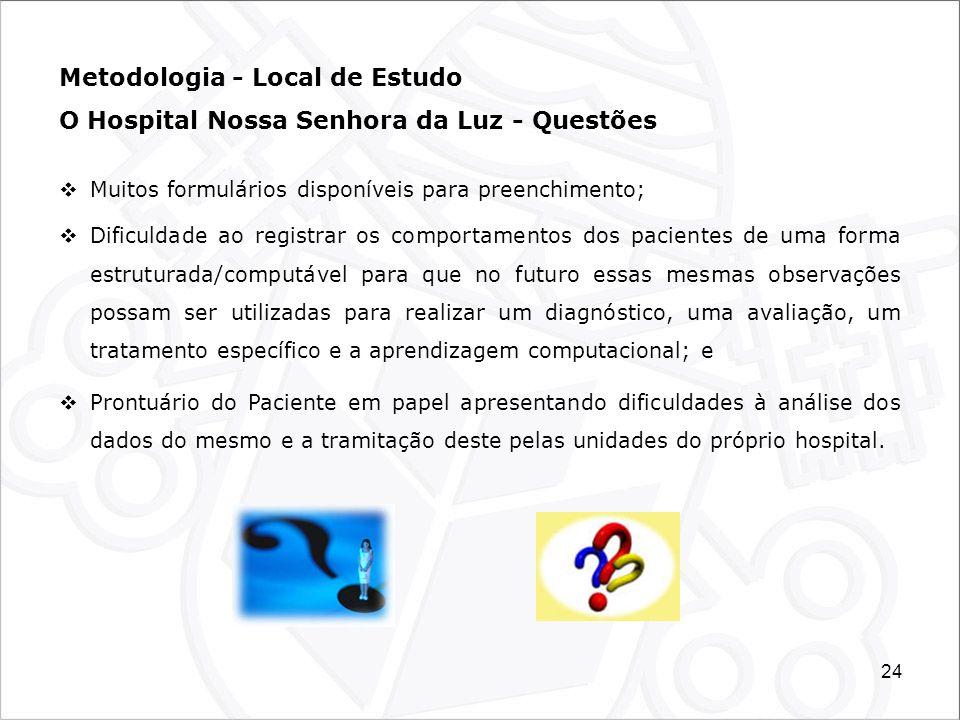 24 Metodologia - Local de Estudo O Hospital Nossa Senhora da Luz - Questões Muitos formulários disponíveis para preenchimento; Dificuldade ao registra