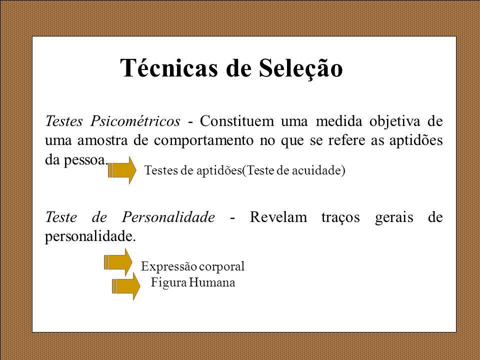 Técnicas de Seleção Testes Psicométricos - Constituem uma medida objetiva de uma amostra de comportamento no que se refere as aptidões da pessoa. Test