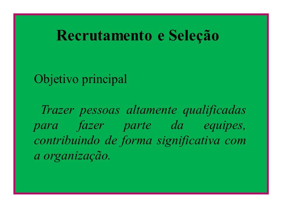 Recrutamento e Seleção Objetivo principal Trazer pessoas altamente qualificadas para fazer parte da equipes, contribuindo de forma significativa com a