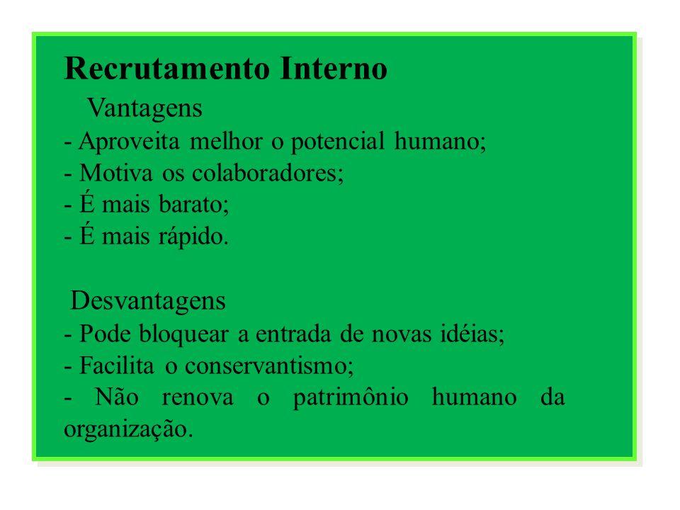 Recrutamento Externo Vantagens - Sangue novo para a organização; - Enriquece o patrimônio humano; - Renova a cultura organizacional; Desvantagens - Acaba com a motivação dos funcionários; - Maior custo para a empresa; - É mais demorado.