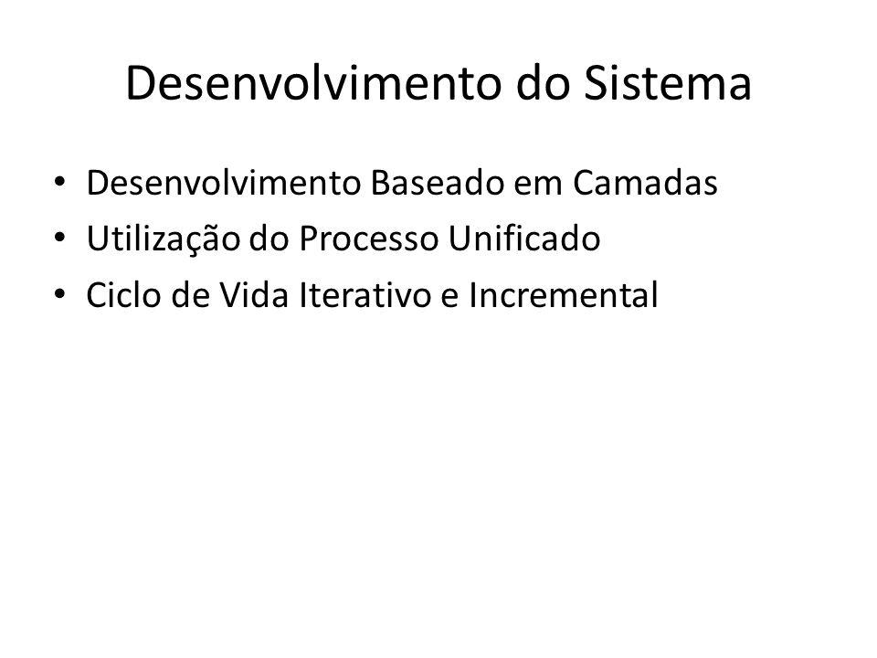 Desenvolvimento do Sistema Desenvolvimento Baseado em Camadas Utilização do Processo Unificado Ciclo de Vida Iterativo e Incremental