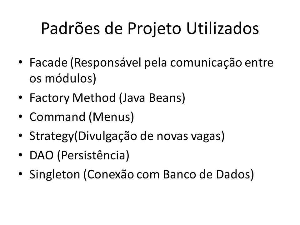 Padrões de Projeto Utilizados Facade (Responsável pela comunicação entre os módulos) Factory Method (Java Beans) Command (Menus) Strategy(Divulgação d