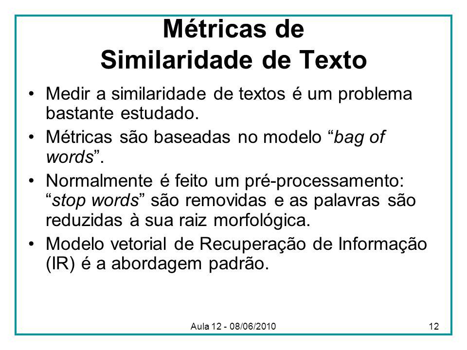 Métricas de Similaridade de Texto Medir a similaridade de textos é um problema bastante estudado. Métricas são baseadas no modelo bag of words. Normal