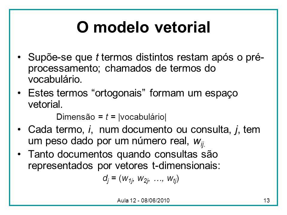 O modelo vetorial Supõe-se que t termos distintos restam após o pré- processamento; chamados de termos do vocabulário. Estes termos ortogonais formam