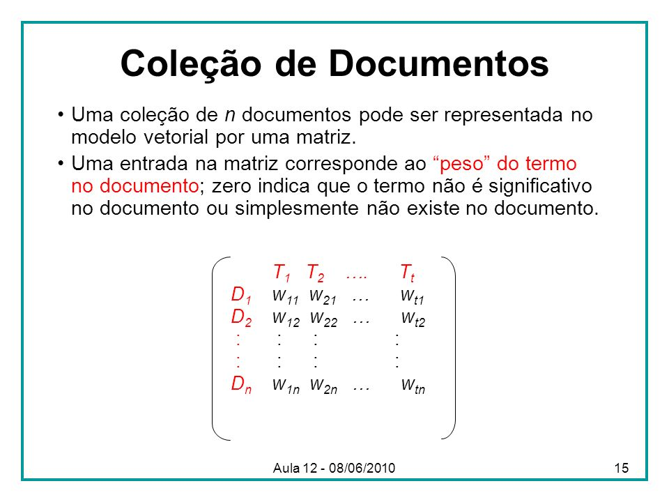 Coleção de Documentos Uma coleção de n documentos pode ser representada no modelo vetorial por uma matriz. Uma entrada na matriz corresponde ao peso d