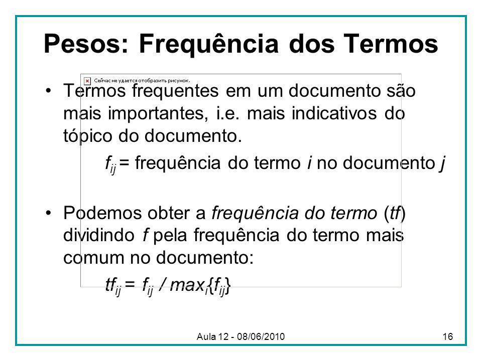Pesos: Frequência dos Termos Termos frequentes em um documento são mais importantes, i.e. mais indicativos do tópico do documento. f ij = frequência d