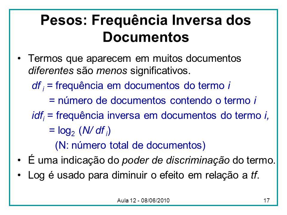 Pesos: Frequência Inversa dos Documentos Termos que aparecem em muitos documentos diferentes são menos significativos. df i = frequência em documentos