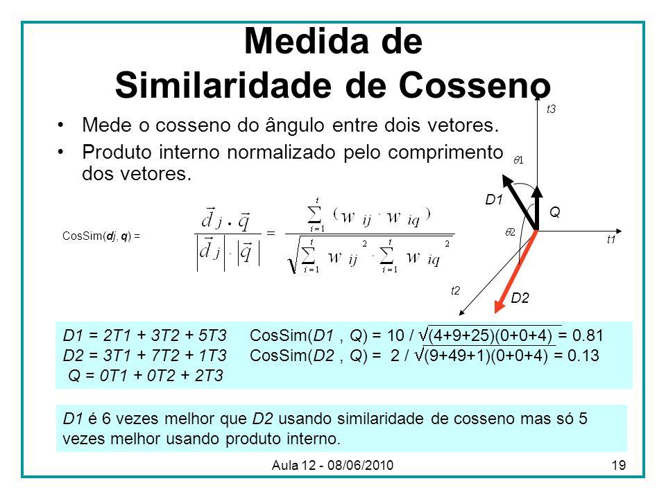 Medida de Similaridade de Cosseno Mede o cosseno do ângulo entre dois vetores. Produto interno normalizado pelo comprimento dos vetores. D1 = 2T1 + 3T
