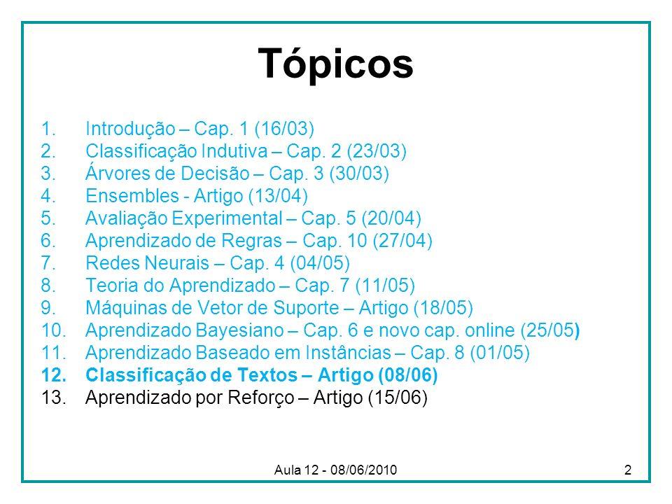 Aula 12 - 08/06/2010 Tópicos 1.Introdução – Cap. 1 (16/03) 2.Classificação Indutiva – Cap. 2 (23/03) 3.Árvores de Decisão – Cap. 3 (30/03) 4.Ensembles