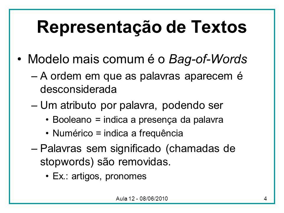 Representação de Textos Modelo mais comum é o Bag-of-Words –A ordem em que as palavras aparecem é desconsiderada –Um atributo por palavra, podendo ser