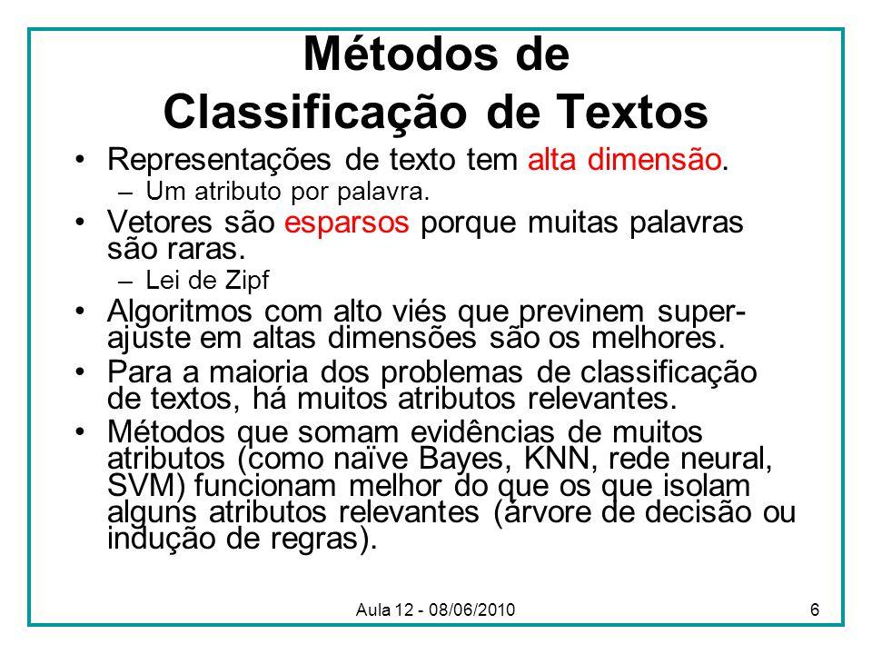 Métodos de Classificação de Textos Representações de texto tem alta dimensão. –Um atributo por palavra. Vetores são esparsos porque muitas palavras sã