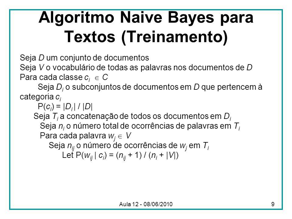 Algoritmo Naive Bayes para Textos (Teste) Dado um documento de teste X Seja n o número de ocorrências de palavras em X Retorne a classe: onde a i é a palavra que ocorre na i-ésima posição de X Aula 12 - 08/06/201010