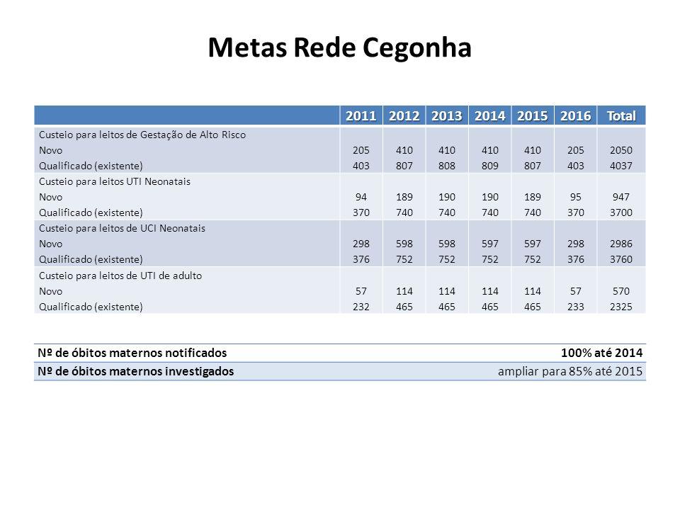 Metas Rede Cegonha201120122013201420152016Total Custeio para leitos de Gestação de Alto Risco Novo Qualificado (existente) 205 403 410 807 410 808 410