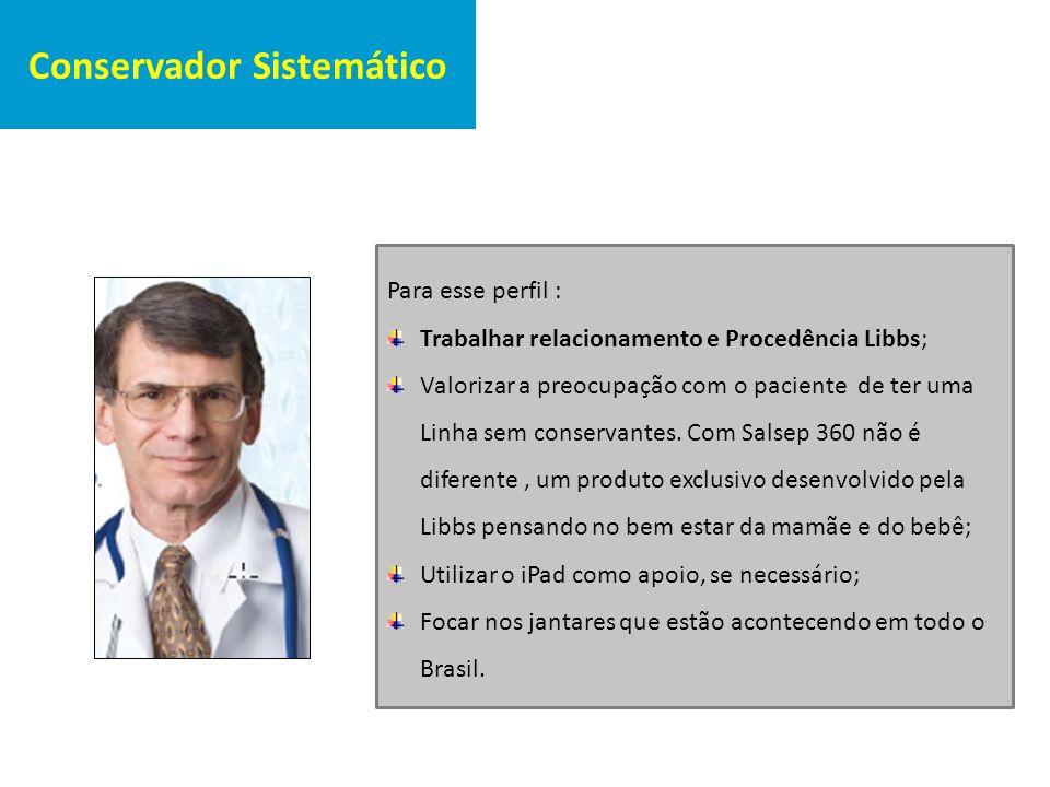 Conservador Sistemático Para esse perfil : Trabalhar relacionamento e Procedência Libbs; Valorizar a preocupação com o paciente de ter uma Linha sem c