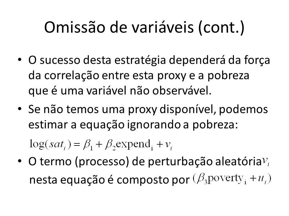 Omissão de variáveis (cont.) O sucesso desta estratégia dependerá da força da correlação entre esta proxy e a pobreza que é uma variável não observável.
