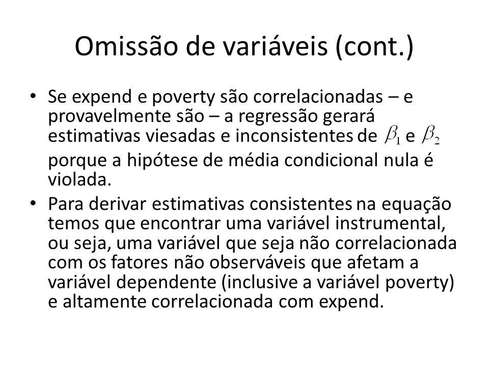 Omissão de variáveis (cont.) Se expend e poverty são correlacionadas – e provavelmente são – a regressão gerará estimativas viesadas e inconsistentes de e porque a hipótese de média condicional nula é violada.