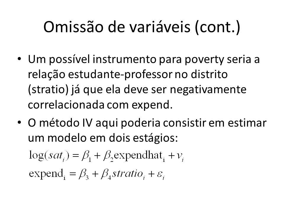 Omissão de variáveis (cont.) Um possível instrumento para poverty seria a relação estudante-professor no distrito (stratio) já que ela deve ser negativamente correlacionada com expend.