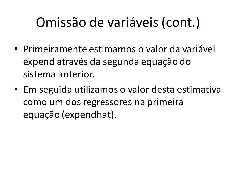 Omissão de variáveis (cont.) Primeiramente estimamos o valor da variável expend através da segunda equação do sistema anterior.