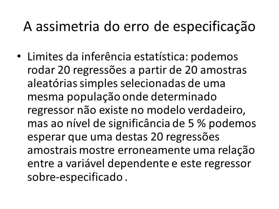 A assimetria do erro de especificação Limites da inferência estatística: podemos rodar 20 regressões a partir de 20 amostras aleatórias simples selecionadas de uma mesma população onde determinado regressor não existe no modelo verdadeiro, mas ao nível de significância de 5 % podemos esperar que uma destas 20 regressões amostrais mostre erroneamente uma relação entre a variável dependente e este regressor sobre-especificado.