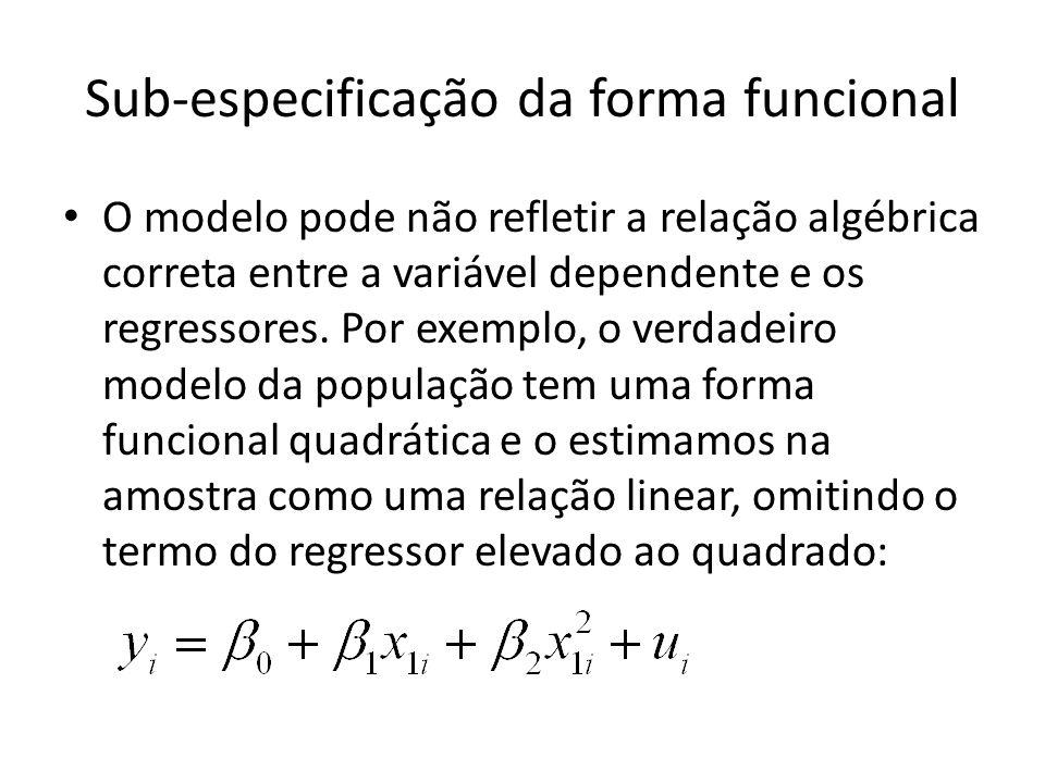 Sub-especificação da forma funcional O modelo pode não refletir a relação algébrica correta entre a variável dependente e os regressores.