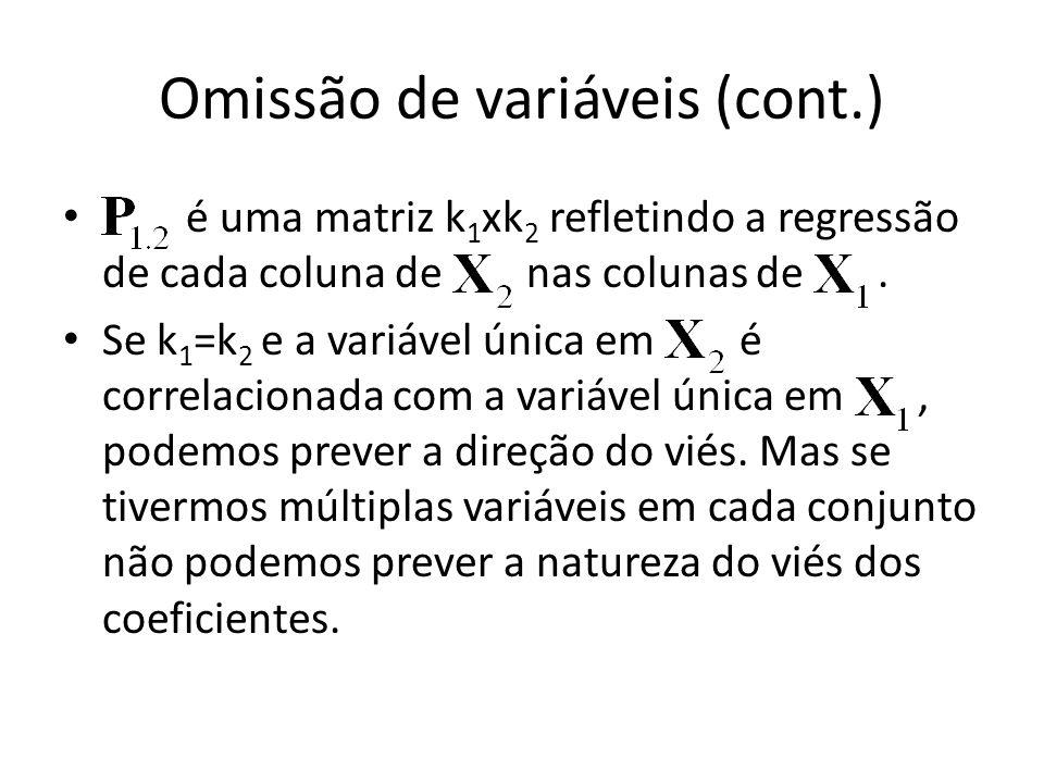 Omissão de variáveis (cont.) é uma matriz k 1 xk 2 refletindo a regressão de cada coluna de nas colunas de.