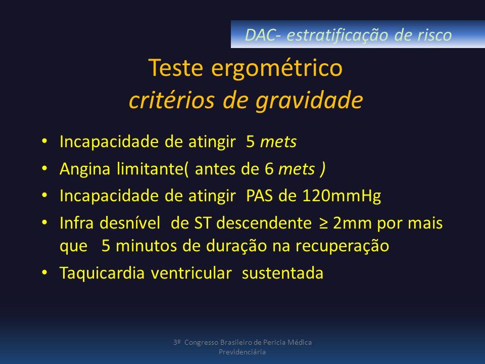 Teste ergométrico critérios de gravidade Incapacidade de atingir 5 mets Angina limitante( antes de 6 mets ) Incapacidade de atingir PAS de 120mmHg Inf