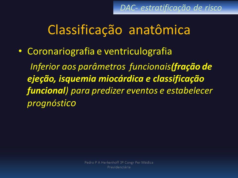 Classificação anatômica Coronariografia e ventriculografia Inferior aos parâmetros funcionais(fração de ejeção, isquemia miocárdica e classificação fu