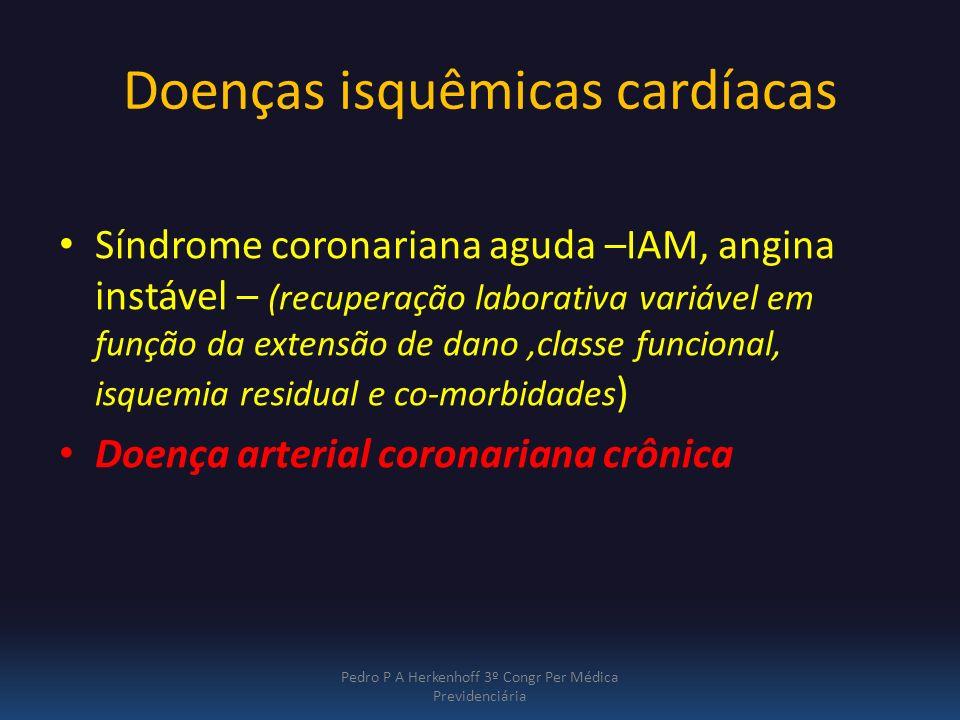 Doenças isquêmicas cardíacas Síndrome coronariana aguda –IAM, angina instável – (recuperação laborativa variável em função da extensão de dano,classe