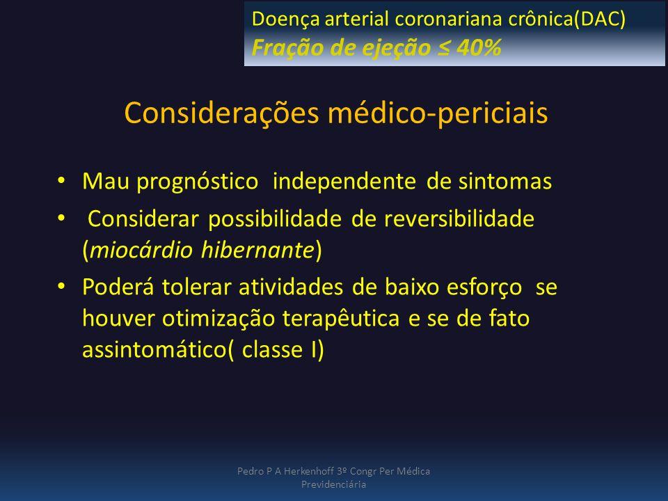 Considerações médico-periciais Mau prognóstico independente de sintomas Considerar possibilidade de reversibilidade (miocárdio hibernante) Poderá tole