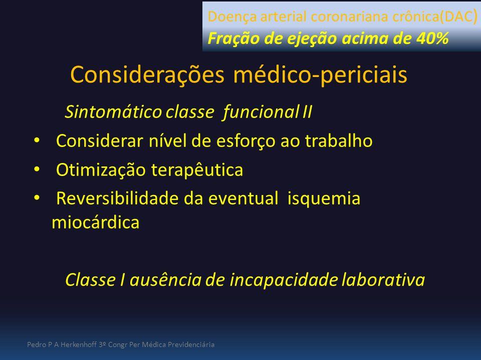 Considerações médico-periciais Sintomático classe funcional II Considerar nível de esforço ao trabalho Otimização terapêutica Reversibilidade da event