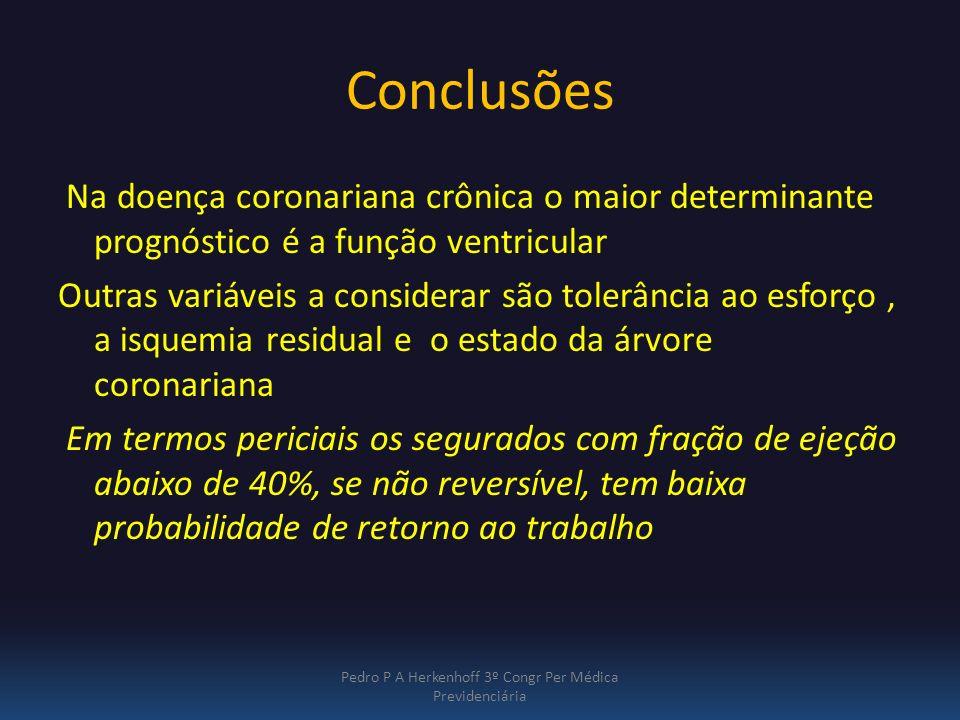 Conclusões Na doença coronariana crônica o maior determinante prognóstico é a função ventricular Outras variáveis a considerar são tolerância ao esfor
