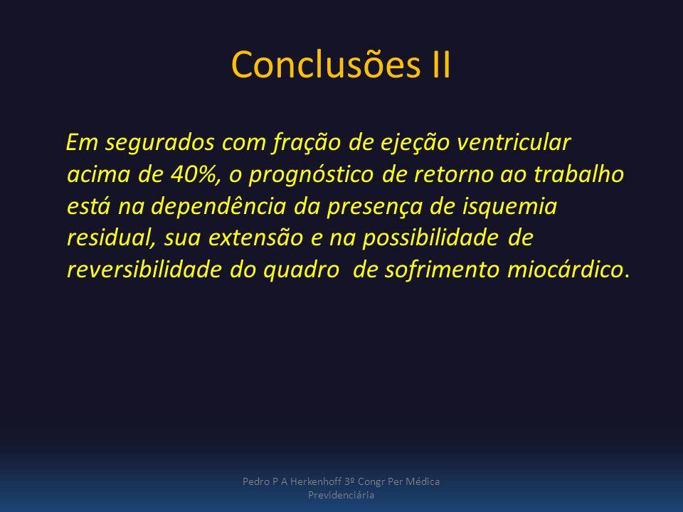 Conclusões II Em segurados com fração de ejeção ventricular acima de 40%, o prognóstico de retorno ao trabalho está na dependência da presença de isqu