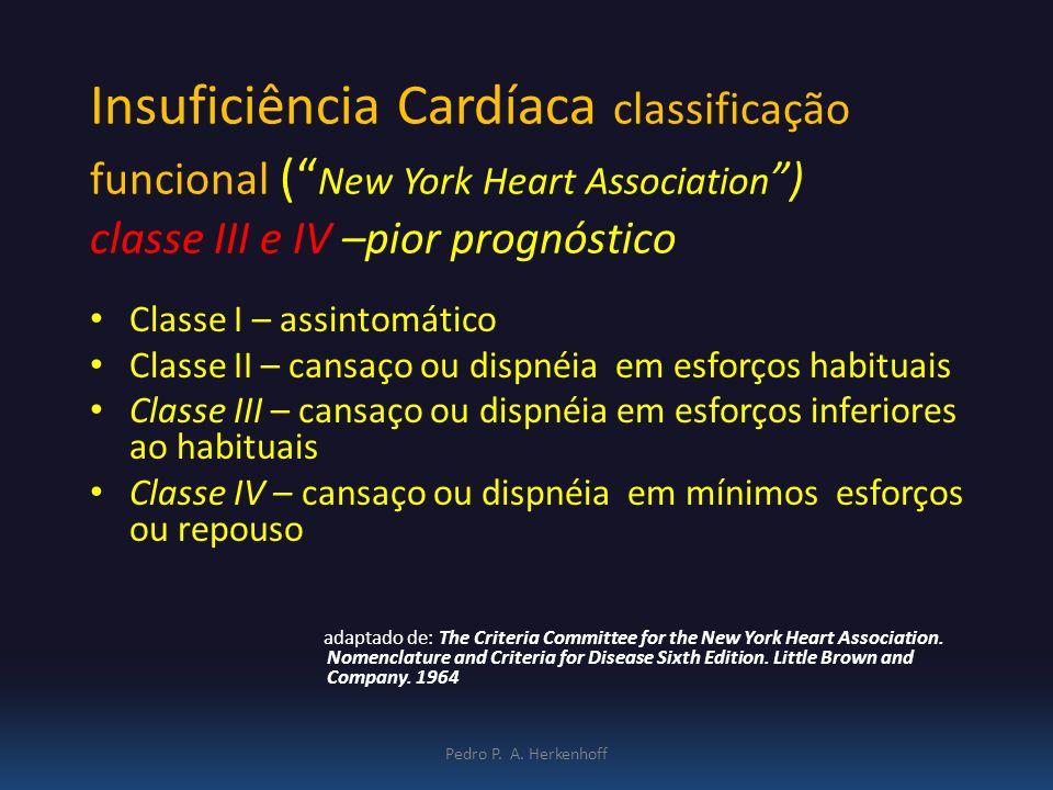 Pedro P. A. Herkenhoff Insuficiência Cardíaca classificação funcional ( New York Heart Association ) classe III e IV –pior prognóstico Classe I – assi