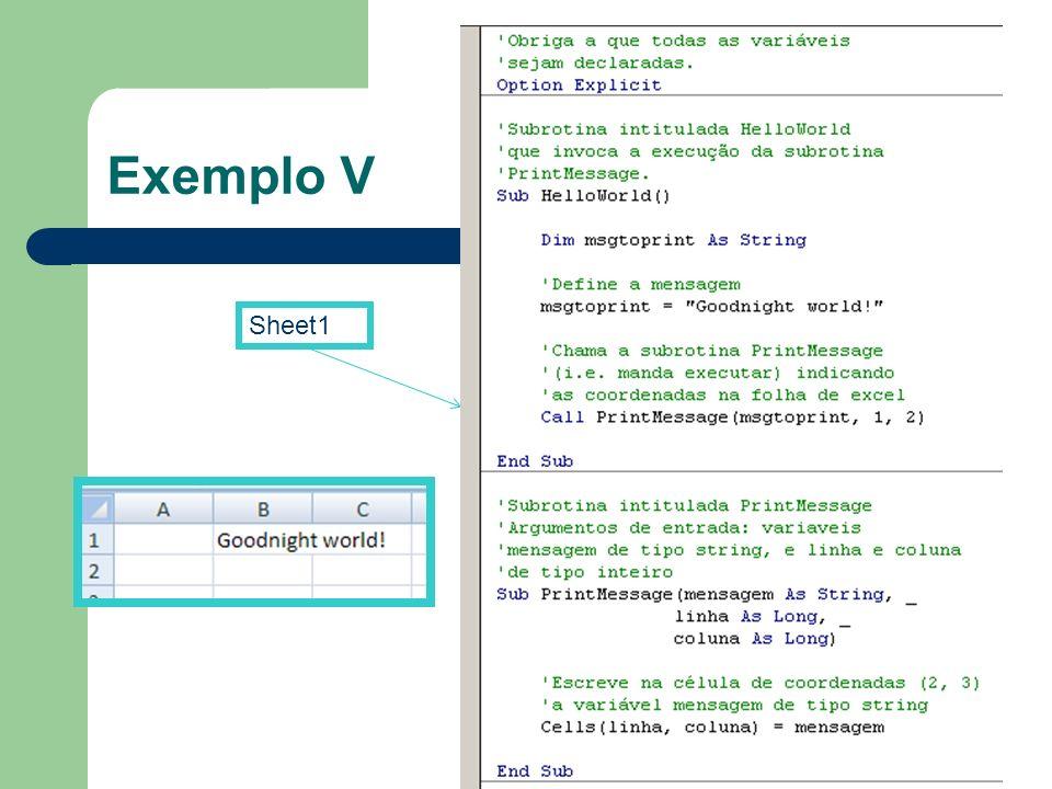 Exemplo V Sheet1