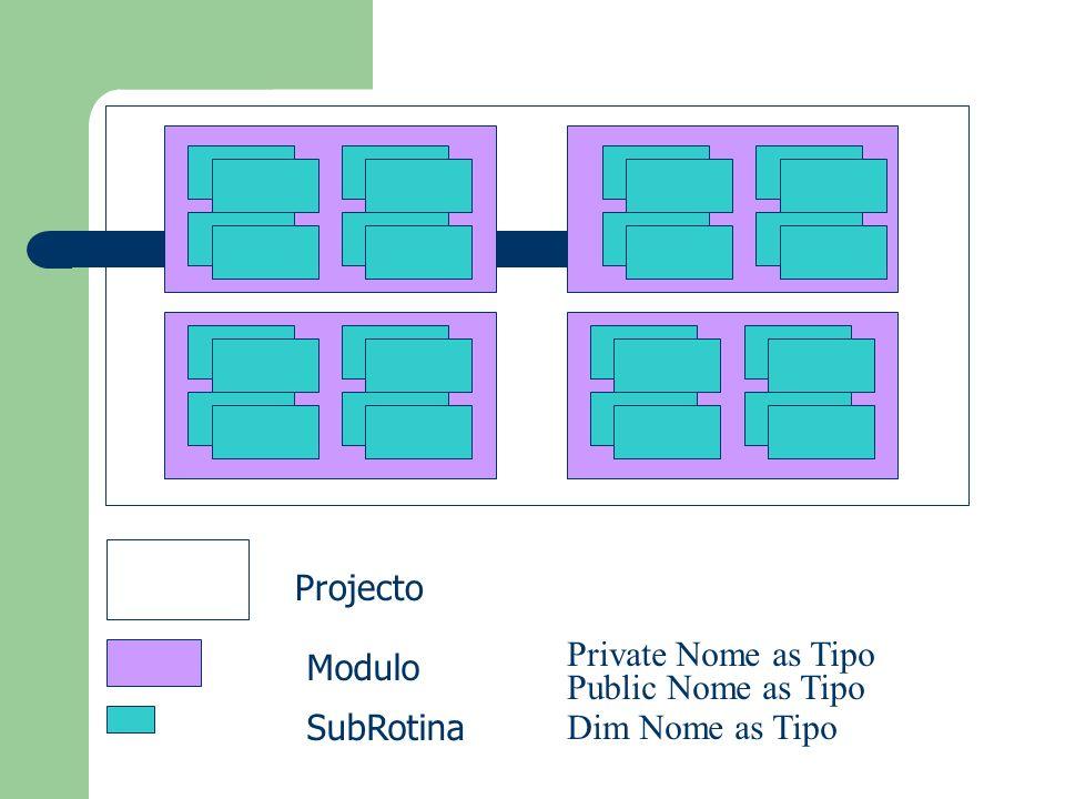 Projecto Modulo SubRotina Private Nome as Tipo Public Nome as Tipo Dim Nome as Tipo