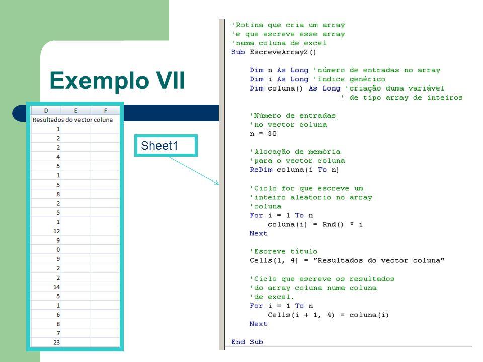 Exemplo VII Sheet1