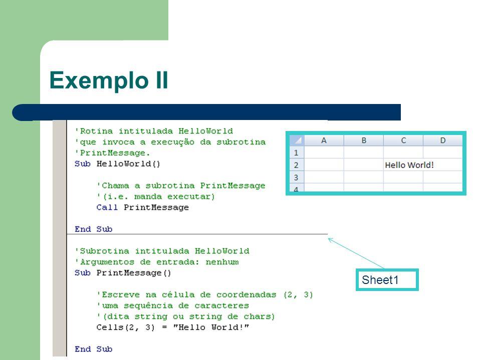 Exemplo II Sheet1