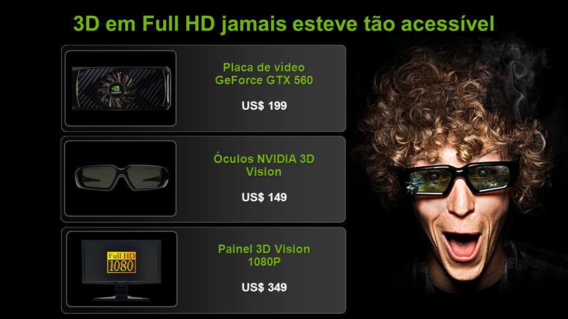 NVIDIA Confidential 3D em Full HD jamais esteve tão acessível Placa de vídeo GeForce GTX 560 US$ 199 Óculos NVIDIA 3D Vision US$ 149 Painel 3D Vision 1080P US$ 349