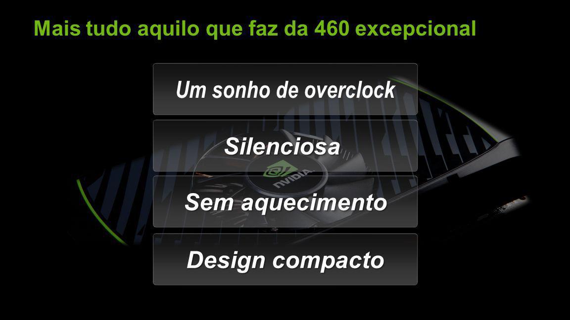 NVIDIA Confidential Mais tudo aquilo que faz da 460 excepcional Um sonho de overclock SilenciosaSilenciosa Sem aquecimento Design compacto