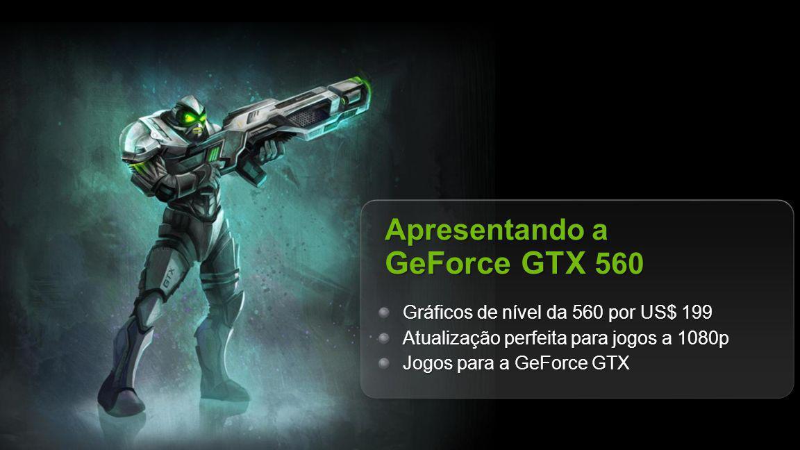 NVIDIA Confidential Apresentando a GeForce GTX 560 Gráficos de nível da 560 por US$ 199 Atualização perfeita para jogos a 1080p Jogos para a GeForce GTX