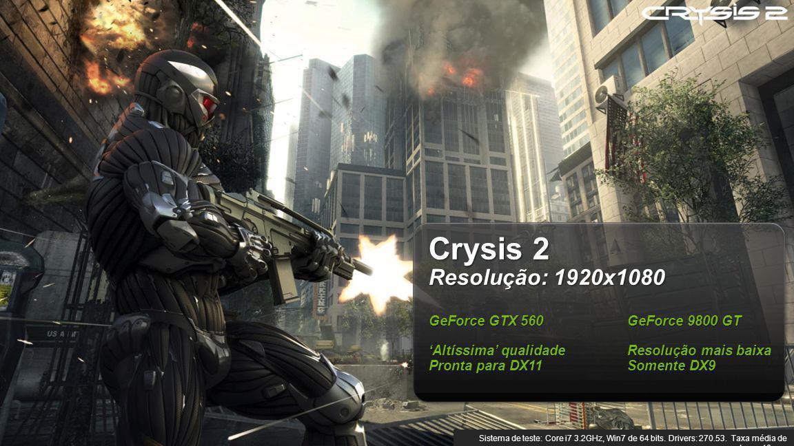 © NVIDIA Confidential – Não distribuir 7 Crysis 2 Resolução: 1920x1080 GeForce GTX 560 GeForce 9800 GT Altíssima qualidadeResolução mais baixa Pronta para DX11Somente DX9 Sistema de teste: Core i7 3.2GHz, Win7 de 64 bits.